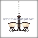 Modern american style bronze chandelier lamp with cream marble glass shade (C80550)