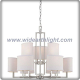 Modern balanced brushed nickel two layers chandelier lamp with fabric shades (C80602)