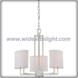 Small brushed nickel and oval fabric shades chandelier lamp for hotel (C80603)