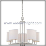 American style brushed nickel chandelier lamp with oval khaki fabric shades (C80604)