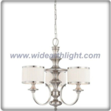 Brushed nickel chandelier lamp with pleated fabric shades for hotel (C80607)