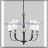 Five arms glass shade and matte black chandelier lamp with crystal ball decoration (C80639)