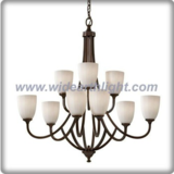 Upward bouquet shaped white glass shade and brown chandelier lamp (C80646)