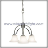Modern downward brushed steel chandelier lamp with glass shade (C80655)
