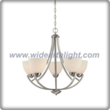 Modern brushed nickel chandelier lamp with bowl glass shade (C80656)