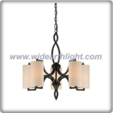 Modern europe style bronze plated chandelier lamp with cream cylinder fabric shade (C80671)