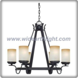 Antique black chandelier lamp with 6 arms and shades (C80681)