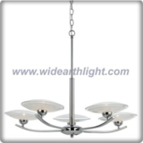 Chrome finished fan shaped chandelier lamp with glass frisbee shade (C80683)