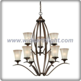 Europe style bronze plated chandelier lamp with cup glass shade (C80722)