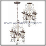 Traditional bronze and ivory chandelier lamp with crystal decoration (C80762)