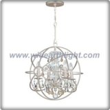 Unique design silver globe chandelier lamp with crystal pendants inside (C80767)