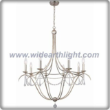 Simply design metal frame silver chandelier lamp with crystal chains and pendants (C80771)