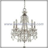 Silver plated candle lights chandelier lamp with crystal chains and pendants (C80781)