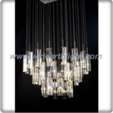 Modern polished chrome chandelier lamp with hanging glass lights (C80804)