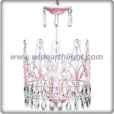 Beautiful design pink crown chandelier lamp with crystal pendants (C80805)