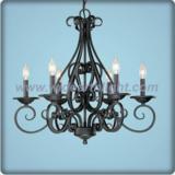 Unique metal black chandelier lamp with candle light (C80808)