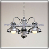 American style antique satin steel chandelier lamp with dome shade (C80810)
