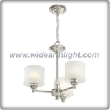 Small shaped polished nickel finish metal chandelier lamp with glass shade (C80811)