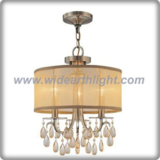 Antique brass plated and gold fabric chandelier lamp with crystal pendants (C80813)