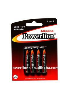 Blister card packing SIZE AAA/AM-4/LR03 1.5V Alkaline Battery