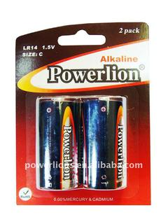 POWERLION LR14/SIZE C/AM-2 Super Alkaline Battery Mercury free cell