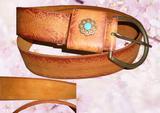 flower moulded keeper genuine leather belt