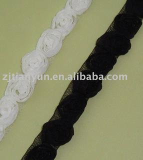 Polyester nylon embroidery wedding dress flower lace