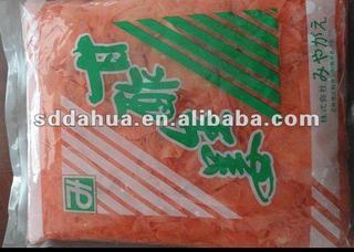pink pickled sushi ginger slice