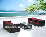 red cushion indoor furniture rattan/wicker sofa set with 10cm cushion