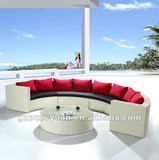 beige outdoor furniture rattan/wicker half circle sofa set design
