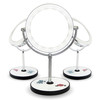 Double sides rotation metal frame led lighted magnifying tabletop mirror