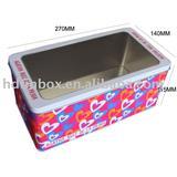 rectangular tin box with pet window