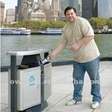 Large Stainless Steel Dustbin, 72.6L Capacity Street Trash Can