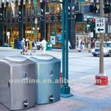 Street Stainless Steel Pedal Trash Can with Safe Buffered Device Cover