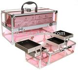 pink aluminum cosmetic case and box