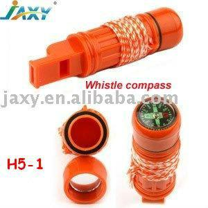 Plastic Survival Whistle Compass H5-1