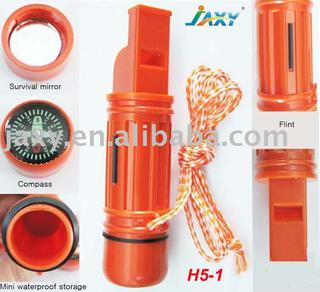 5 in 1 Survival Plastic Whistle Compass Kit H5-1