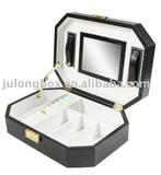 black leather mirrored large jewelry case cosmetic box