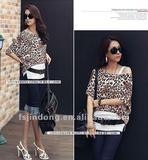 New summer women's sexy leopard loose, casual bat sleeve T - shirt =LD-TS0073