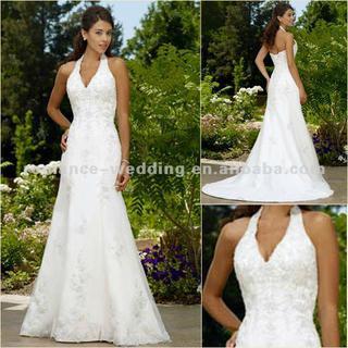 Ra0021 Beautiful Lace Halter V Neck Grecian Style Wedding