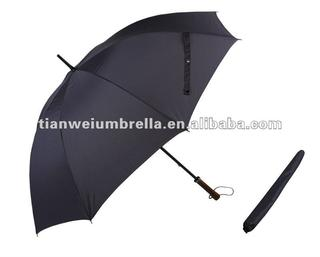"30"" Golf Straight Manual Umbrella with Wooden Handle Made of 190T Nylon"