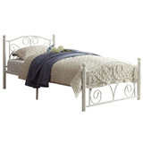 Noble Comfortable White Metal Frame Bed Double Size Home Bedroom Furniture