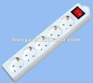 German standard 5 outlet extension socket