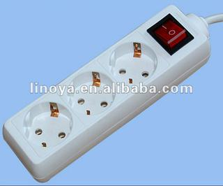 German standard 3 outlet extension socket