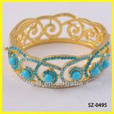 artificial blue diamond fashion bangle for women & gold plating jewelry