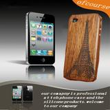 Engraved Eiffel Tower wood case for iphone 4 4s