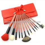 goat ,pony and nylon hair red wooden handle ,angle makeup brush set