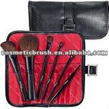quality hair plastic handle new top-quality mini cosmetic brushes kit with pu bag