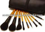 quality hair wooden handle new top-quality mini makeup brush set with pu bag