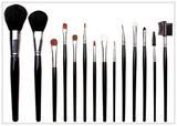 14 pcs goat &nylon hair wooden handle cosmetic brush set